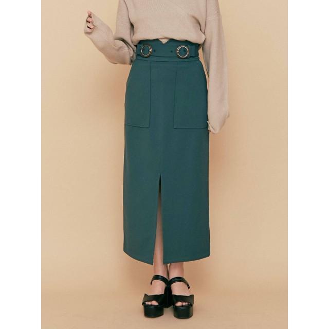 [MURUA]ダブルバックルハイウエストタイトスカート