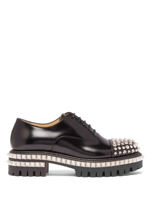 Christian Louboutin - Kings Road Studded Leather Oxford Shoes - Womens - Black