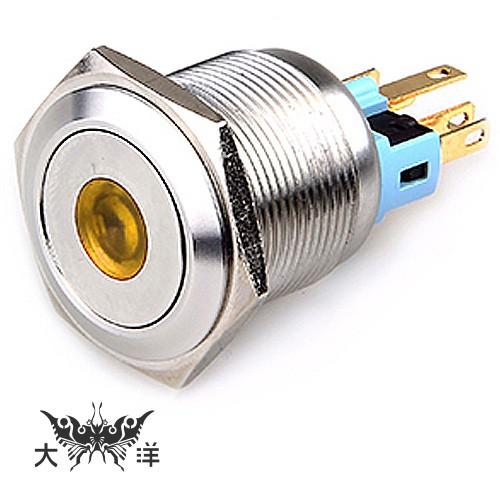 22mm 不鏽鋼金屬平面中心燈無段開關 DC12V DC24V AC110V S2202A 大洋國際電子