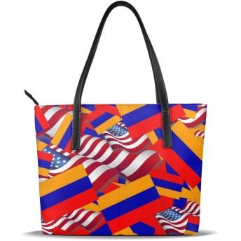 バッグ トートバッグ アメリカの国旗とアルメニアの国旗 ハンドバッグ ショルダーバッグ 革 収納 大容量 軽量 防水 盗難防止 誕生日 入学式 母の日 ビジネス 旅行 多機能