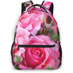 5月の誕生花 ピンクバラ バックパック リュック 通学 遠足 旅行 多機能 大容量 収納 男女通用