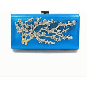 Honana パーティーバッグ レディース 女性のファッション小枝合金の断面菱形スクエアハンドチェーンバッグ 2WAY 二次会 結婚式 披露宴 卒業式 人気 (Color : Blue, Size : 22511.5)