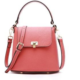 Fashianレトロハンドバッグショルダーメッセンジャーバッグシンプルな野生のバケツバッグ無地の色々 (色 : ピンク)