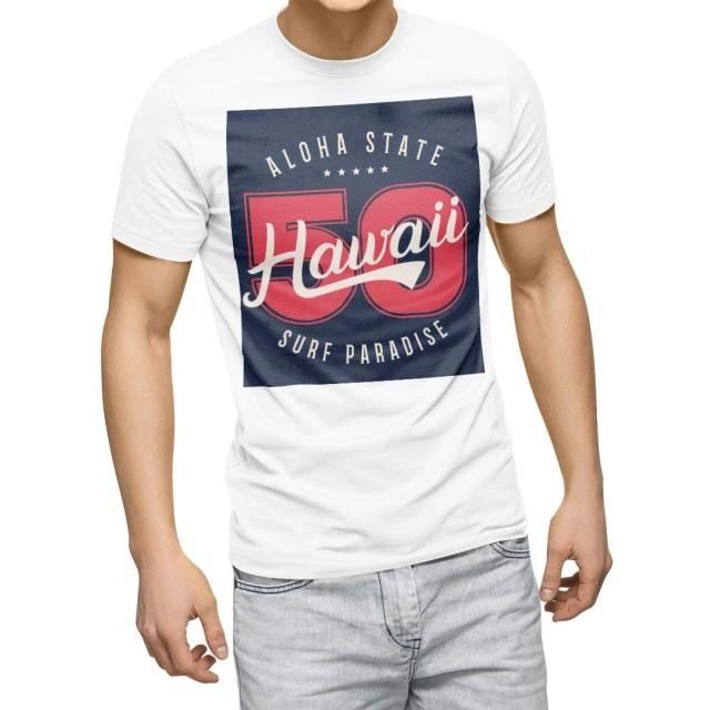 igsticker プリント Tシャツ メンズ L size おしゃれ クルーネック 白 ホワイト t-shirt 011624 ハワイ 外国 星
