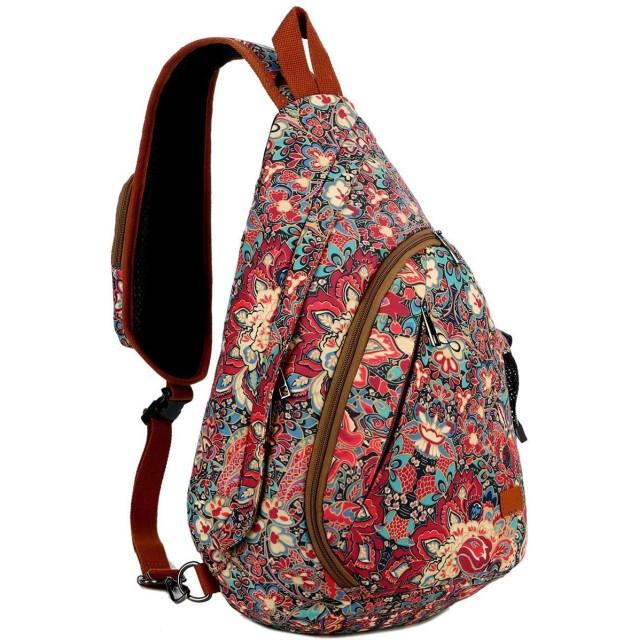 KUUQA スリングバッグクロスボディショルダーチェストバッグ旅行ハイキングデイパック女性用