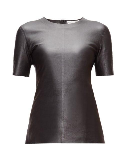 Bottega Veneta - Round-neck Leather T-shirt - Womens - Black