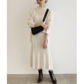 (ROPE'/ロペ)【WEB限定】ケーブルニットスカートセットアップ/レディース ホワイト(10)