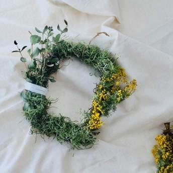 春の小花ミモザとユーカリのスクエアリース