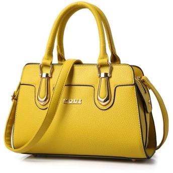 女性用ブラックジッパーレジャー通勤用シンプルメッセンジャーショルダーバッグ (色 : 黄)
