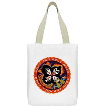 キッス KISS ロックバンドキャンバストートバッグ大容量ショルダーバッグジョーカーキャンバスバッグ内ジッパースモールポケット通勤通学旅行オフィス