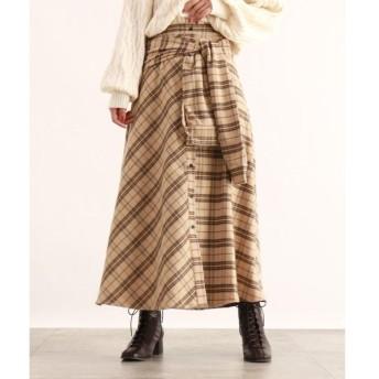 OZOC / オゾック [洗える]ウエストリボンチェック柄スカート