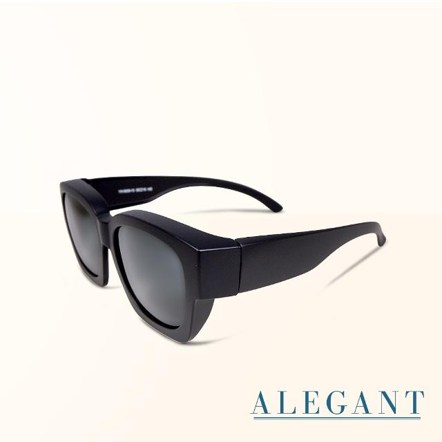 【ALEGANT】經典純黑色豹紋方框全罩式寶麗來偏光墨鏡/外掛式UV400太陽眼鏡/包覆套鏡