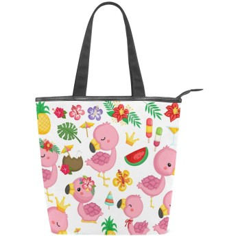 可愛い ピンク フラミンゴ トートバッグ おしゃれ ハンドバッグ レディース 肩掛け ショルダーバッグ ファスナーキャンバスバッグ 多機能バッグ
