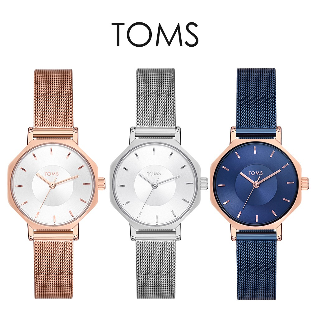 TOMS 氣質玫金特色八角形手錶(1819)