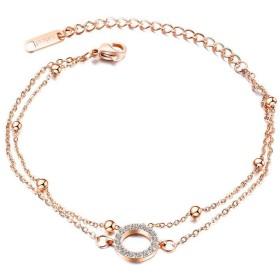 女性のための女性調節可能な手首リンクチェーンのための女性ローズゴールドアンクレット、バレンタインデーのギフトのためのステンレススチールブレスレット,Rosegold