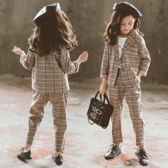 還元祭! 子供スーツ フォーマル 女の子 子供服 セットアップ キッズ おしゃれ 長袖 春秋 2点セット アウター 立ち襟 長ズボン チェック柄