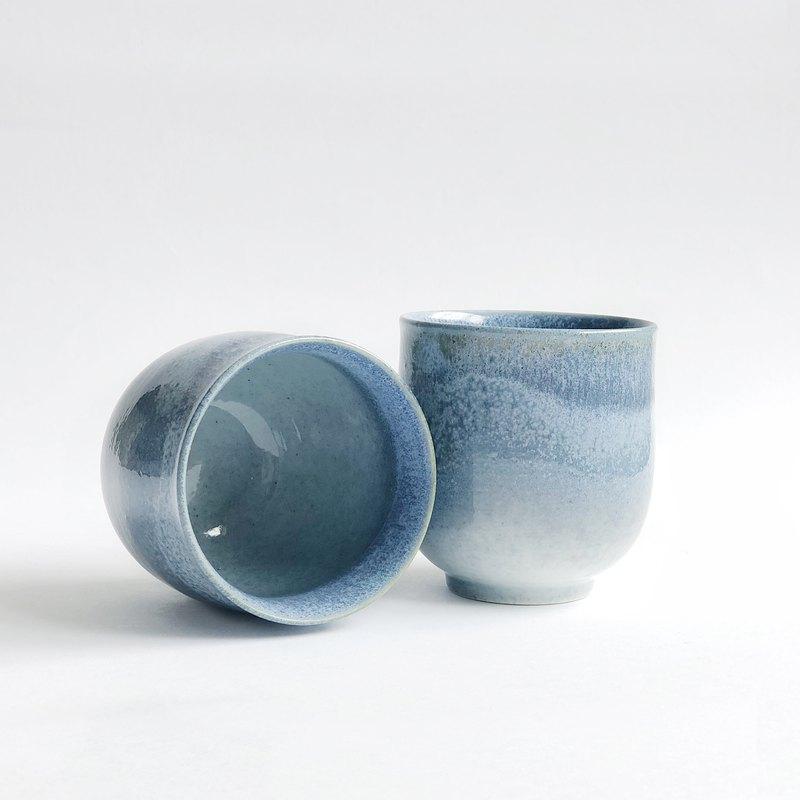 窯變釉手作陶瓷茶杯单杯-海浪蓝