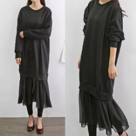 冬新作!ロングワンピース 異素材ドッキング デイリー カジュアル 韓国ファッション