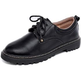 [MerryCo] マニッシュシューズ 革靴 レディース オックスフォードシューズ フォーマル 通学 通勤 JK 女子高生 メンズライク マーチンブーツ ローカット 可愛い ラウンドトゥ 丸み レースアップ コスプレ 厚底靴 黒 ブラウン