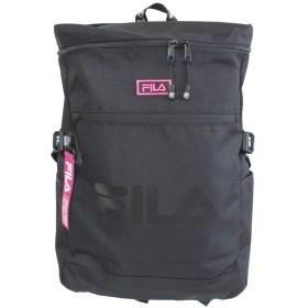 [フィラ] FILA スクエア リュック サイドポケット ブラック/ピンク