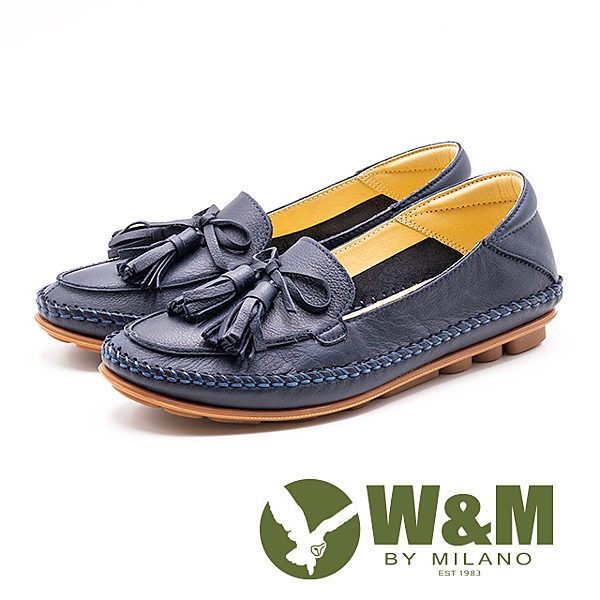W&M 流蘇柔軟車縫豆豆鞋 女鞋-藍(另有粉)