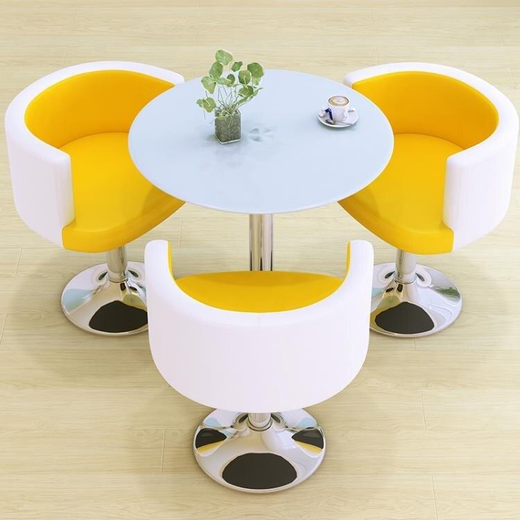夯貨折扣! 洽談圓桌洽談桌椅組合接待桌椅咖啡桌鋼化玻璃圓桌子小圓桌茶幾奶茶店桌椅LX