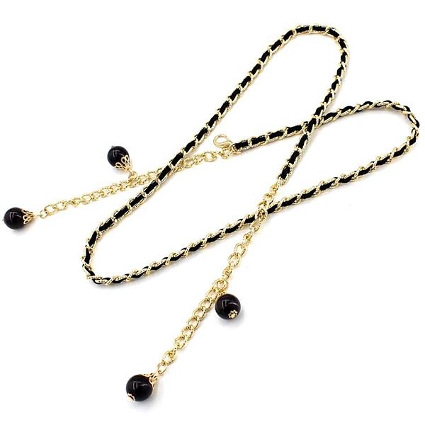 腰錬女款細珍珠裝飾百搭配洋裝子腰帶女士韓版時尚金屬皮帶裙帶 滿天星