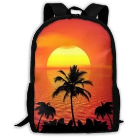 リュックサック バックパック 夏 夕焼け 太陽 海 通学 遠足 防水 バッグ 旅行 リュック
