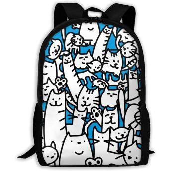 いろいろ猫柄 リュックバック リュックナップザック バッグ ノートパソコン用のバッグ 大容量 バックパックチ キャンパス バックパック 大人のバックパック 旅行 ハイキングナップザック One Size
