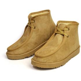 ムートンブーツ メンズ ブーツ ショート モカシン シューズ ファー 防寒 内ボア 防滑 カジュアル 靴 メンズシューズ Beige LL(27cm-27.5cm相当)