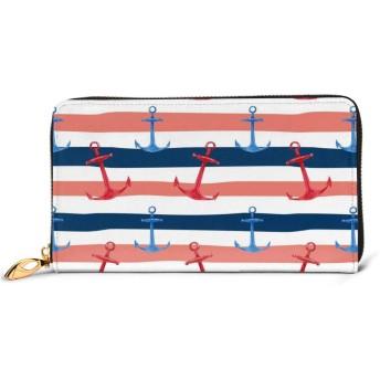 海のストライプの壁紙Sea Stripe Wallpaper プレミアムレザーと 金属ジップレザー財布、ファッションレディースウォレットクレジットカードスロットダークリアルレザーウォレット快適で丈夫な防水レザー
