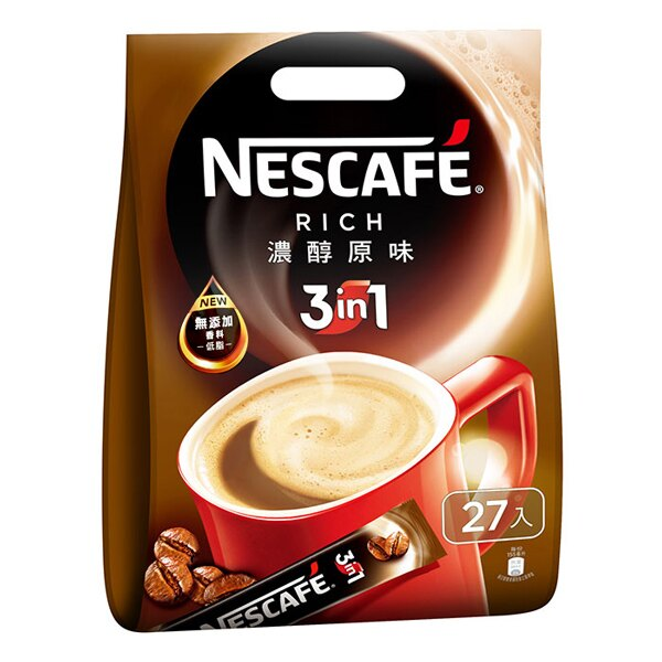NESCAFE 雀巢咖啡 三合一-濃醇原味 15g (27入)x18袋/箱【康鄰超市】