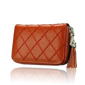 Honana パーティーバッグ レディース 本革ファスナー財布をブロックする女性のクレジットカードウォレット 2WAY 二次会 結婚式 披露宴 (色 : 褐色)