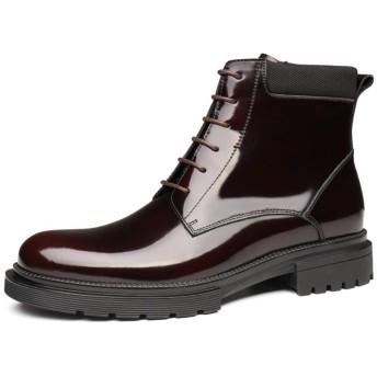 [WEWIN] エンジニアブーツ レースアップブーツ メンズ 本革エナメル サイドジップ ハイカット マーティンブーツ 厚底ブーツ カジュアルブーツ アウトドア 冬用 バイク用 革靴 防滑 防寒靴 おしゃれ イングランド風