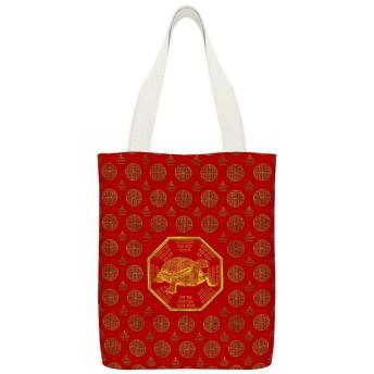 黄金の亀亀風水布団カバー読者のための再利用可能な洗える100%エコフレンドリーなトートバッグ、および愛好家旅行バッグ、ショッピングバッグ