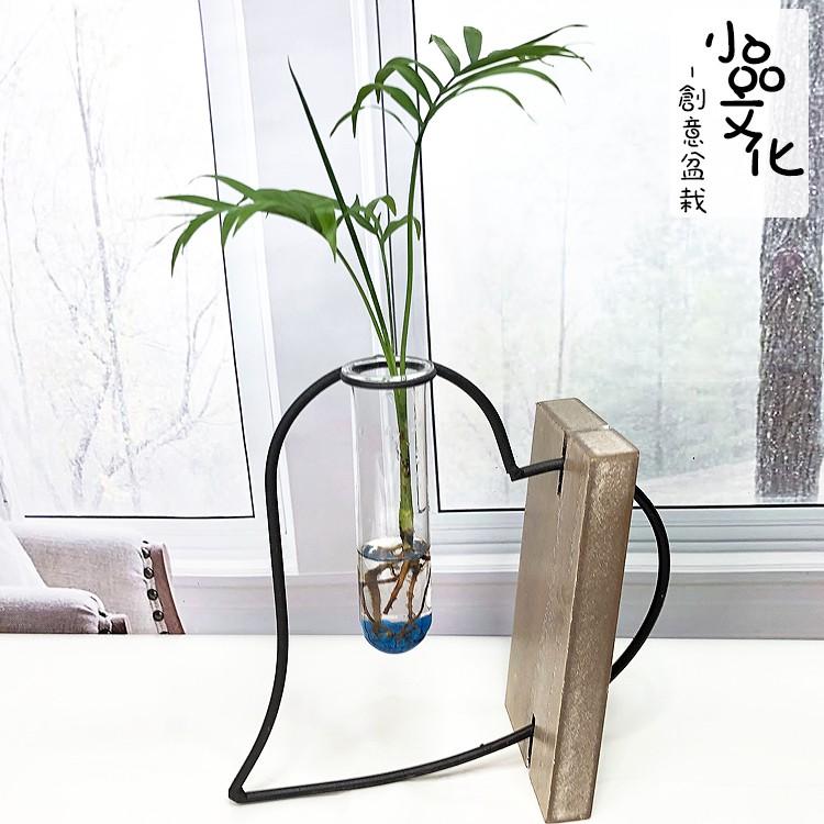 【小品文化】創意盆栽 木座愛心【現貨】袖珍椰子 觀葉植物 室內植物 水耕 玻璃飾品 居家辦公擺飾 盆花 種子