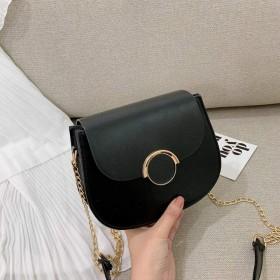 クロスボディバッグ女性抹茶グリーン野生の気質シンプルな小さな新鮮な半円形サドルバッグ-ブラック