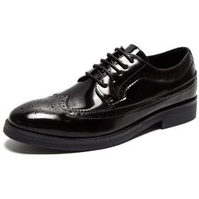 [Jusheng-shoes] メンズシューズ 男性のフォーマル結婚式の靴はレースアップマイクロファイバーレザーポインテッドトゥあきブロックヒールソリッドカラー(特許オプション) カジュアルシューズ (Color : Black-1, サイズ : 24 CM)