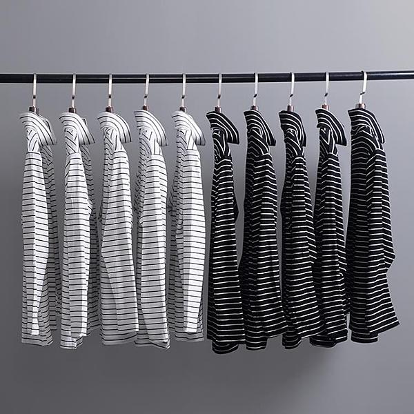 韓國ulzzang體恤原宿復古簡約黑白條紋高領長袖T恤GD款情侶打底衫