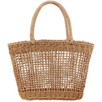 BAJIMI-BAG カゴバッグ レディース 草編み 女性織りハンドバッグカットアウト巾着夏休みビーチトート不織布バッグショルダーバッグハンドル 手提げ 麦わら 夏バッグ おしゃれ (色 : カーキ, サイズ : 402511cm)