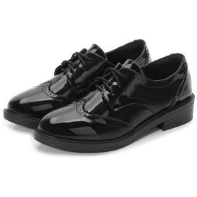 [SSJJ] マニッシュシューズ 22.5cm レディース オックスフォードシューズ おじ靴 レースアップシューズ 履きやすい 脱ぎやすい 柔らかい 滑りにくい 黒色 イギリス風 ラウンドトゥ パンプス 通勤 通学 歩きやすい太めヒール 学生
