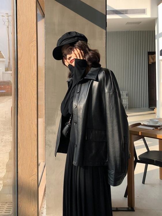 夯貨折扣! 皮衣A7seven 帥氣百搭PU皮衣女秋季新款高腰短款修身皮夾克外套潮