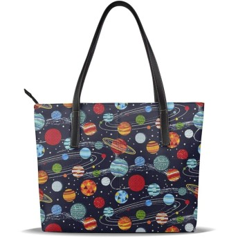 バッグ トートバッグ 惑星 ハンドバッグ ショルダーバッグ 革 収納 大容量 軽量 防水 盗難防止 誕生日 入学式 母の日 ビジネス 旅行 多機能