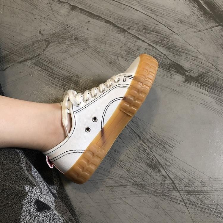 夯貨折扣! 牛津鞋秋季新款帆布鞋女低筒焦糖牛津底板鞋韓國百搭學生休閒布鞋潮