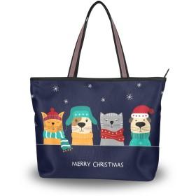 Akiraki トートバッグ レディース 大容量 メンズ おしゃれ かわいい ハンドバッグ バッグ 旅行 クリスマス いぬ 犬柄 猫 猫柄 星柄 ネイビー 通勤 通学 ファスナー キャンパス 軽量 防水 肩掛け 誕生日 プレゼント