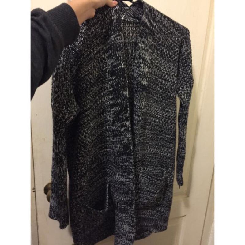 全新 混色針織長版厚外套