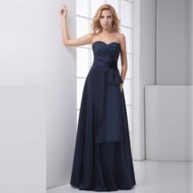 ドレス レディース パーティードレス ロングドレス ベアトップ フレアスカート サテン エレガント 花 大きいサイズ ポイント消化