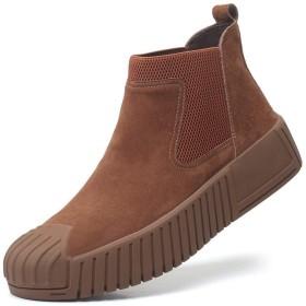 [SJXIN-Mens Boots] 冬のメンズブーツ、男性作業ブーツのためのアンクルブーツは本革弾性首輪衝突回避の足ノンスリップラバーソールパッチワークプラットフォームを引いて (Color : Coffee, サイズ : 24 CM)