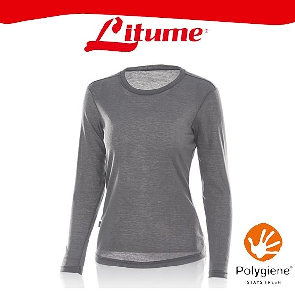【Litume 意都美 女 刷絨彈性保暖衣《灰》】KJ005W/內層衣/圓領/內刷毛/抑臭/快乾