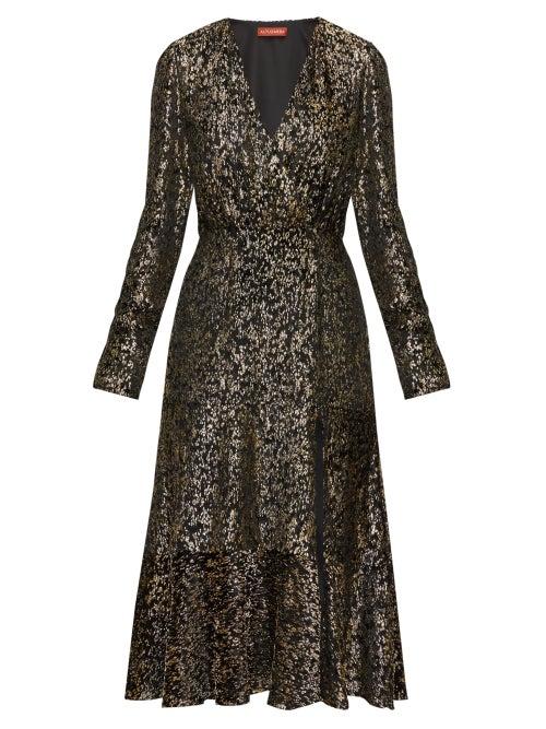 Altuzarra - Martha V-neck Devoré-velvet Midi Dress - Womens - Black